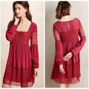 Anthropologie Floreat Womens Ruby Red Scoop Neck Long Sleeve Shift Dress Size 2